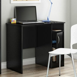 South Shore Axess Collection 35W in. Small Desk - Pure Black - Your home office can be organized and stylish if you add the South Shore Axess Collection 35W in. Small Desk - Pure Black. A smaller scaled desk perfect for tight spaces, this one features simple lines and is loaded with storage options. It's well-built of strong laminate and has a pure black finish. It offers a generous work surface, open storage cubby, and a cupboard door that opens to show an adjustable shelf behind it. About South Shore FurnitureA recognized leader in North American furniture manufacture, South Shore Industries was established in 1940 and has been making furniture for three generations. Employing a team of over 1,000 employees in three factories in Quebec, their assembled and ready-to-assemble furniture has a reputation for quality and excellence at affordable prices for today's family.
