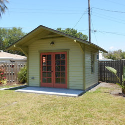 12'x12' Artist Studio Shed - Custom 12'x12' Artists Studio Shed with extended roof by Historic Shed