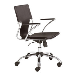 Zuo - Trafico Office Chair, Espresso - Turn heads with the minimalist Trafico Office Chair.  The design of this chair is a fine balance of modern with transitional.  The leatherette strap makes up the support for the back.  The durable chromed-steel construction makes this chair easy on the eyes. The Trafico Office Chair is available in black, white, espresso and even red.  This chair features adjustable mechanism to allow for the perfect height next to a desk or conference table. Keep it sleep and sophisticated in your office with the Trafico Office Chair.