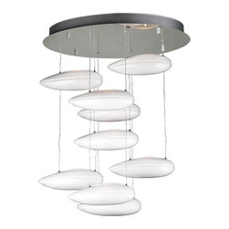 """PLC Lighting - Aquarium White Glass Modern Chandelier - The Aquarium Chandelier renders a modern, pod style lighting solution. Each pod is made of opal white glass and suspended by quick grip cable supports, which makes adjusting the height of each glass fixture (from 23"""" - 30"""") quick and easy. The chandelier's metalwork is expertly finished in polished chrome and adds a stunning contrast to the glass and halogen lamping. UL Approved."""