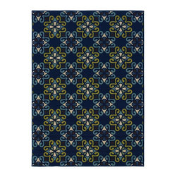 """Oriental Weavers - Indoor/Outdoor Caspian 2'5""""x4'5"""" Rectangle Blue-Green Area Rug - The Caspian area rug Collection offers an affordable assortment of Indoor/Outdoor stylings. Caspian features a blend of natural Ivory-Blue color. Machine Made of Polypropylene the Caspian Collection is an intriguing compliment to any decor."""