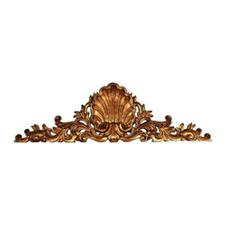 Used Carved Wood Shell Mantel - This gorgeous gilt gold wood carved mantel piece is pure lux!  It would make a fabulous decorative addition to your mantel, or fashion it in to a bed frame for an extra special touch.