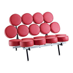 "IFN Modern - Marshmallow Style Sofa-Red - 100% Italian Leather - *Dimensions34.6""L x 30""D x 52.75""HAvailable in Italian LeatherAvailable in various colorsHigh density foam"
