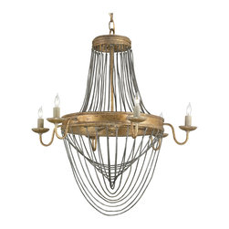Kathy Kuo Home - Bacall Hollywood Regency Drop Chain 6 Light Gold Leaf Chandelier - Small - Add some romantic allure with our elegant, antique gold finished, six light chandelier. Textured iron and brilliant metal combine for an eclectic effect to illuminate a dining room, entryway or any cozy space.
