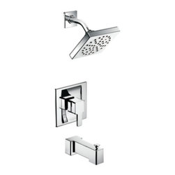 "Moen - Moen TS2713 90 Degree Posi-Temp Single Handle Tub and Shower Faucet Trim, Chrome - Moen TS2713 90 Degree Posi-Temp Single Handle Tub and Shower Faucet Trim in ChromeWith its ultra-contemporary styling, 90 Degree brings a clean, minimalist aesthetic to the home.Note: Valve Not IncludedMoen TS2713 90 Degree Posi-Temp Single Handle Tub and Shower Faucet Trim in Chrome, Features:• Lever design for ease of use• Posi-Temp pressure-balancing valve (Not Included) maintains water pressure and controls temperature• Moen's advanced, self-pressurizing Immersion rainshower technology channels water through the showerhead with three times more spray power than most rainshowers• 6"" diameter rainshower showerhead• Full spray• Includes arm and flange• 6"" slip fit diverter tub spout• ADA Compliant• Valve Required (sold separately)Requires: Moen-2510 Moen 2510-M-PACT Posi-Temp Pressure Balancing Cycling Rough-in Valve (1/2"" IPS), or Moen-2590 Moen 2590-M-PACT Posi-Temp Pressure Balancing Cycling Rough-In Valve with Stops (1/2"" IPS), or Moen-2520 Moen-2520 M-PACT Posi-Temp Pressure Balancing Cycling Rough-In Valve with Stops (1/2"" CC)Specification Sheet- Moen TS2713Moen Installation Instructions  Moen Limited Lifetime WarrantyView the Entire Moen 90 Degree CollectionView All"