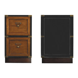 "Black Campaign Files - Filing cabinets are essentially boring entities. Choice-wise there's not much out there. Grandeur and elegance is not associated with the domain of organization. Stashing your files in a Herme's backpack or a vintage Louis Vuitton trunk, while certainly fancy, is not overly accessible. Compare these with our two-drawer Campaign Files. Ready to travel. Rolls where needed at the push of a finger. Laden with written treasures, documents, papers of content... Brass bound, wood, this cabinet is made to be handed down through generations. It is black in color and the face of the drawers along with the base are French finish honey. Item measures 19.75""L x 15.75""W x 26.75""H."
