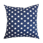 """The Pillow Collection - Sitara Stars Pillow Blue - Let the stars shine bright in your space by adding this throw pillow. Adorned with a star pattern in white and set against a blue background, this accent pillow will turn your interiors from bland to bold. You can showcase your patriotism by donning this star-spangled square pillow. Toss this 18"""" pillow anywhere inside your home to give off a homey vibe. Crafted from 100% plush and cushy cotton material. Hidden zipper closure for easy cover removal.  Knife edge finish on all four sides.  Reversible pillow with the same fabric on the back side.  Spot cleaning suggested."""