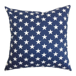 "The Pillow Collection - Sitara Stars Pillow Blue 18"" x 18"" - Let the stars shine bright in your space by adding this throw pillow. Adorned with a star pattern in white and set against a blue background, this accent pillow will turn your interiors from bland to bold. You can showcase your patriotism by donning this star-spangled square pillow. Toss this 18"" pillow anywhere inside your home to give off a homey vibe. Crafted from 100% plush and cushy cotton material. Hidden zipper closure for easy cover removal.  Knife edge finish on all four sides.  Reversible pillow with the same fabric on the back side.  Spot cleaning suggested."