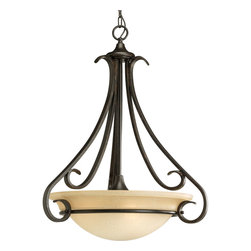 Progress Lighting - Progress Lighting P3847-77 Three-Light Foyer With Tea-Stained Glass - Three-light inverted pendant with tea stained oversized, bell-shaped glass bowl. Distinctive ebbing and flowing of squared scrolls and arms in Forged Bronze finish.