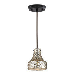 ELK Lighting - Elk Lighting Danica 46023/1 1 Light Mini Pendant - 46023/1 - Shop for Pendants from Hayneedle.com! Fall for the shimmering quilted mercury glass shade of this Elk Lighting Danica 46023/1 1 Light Mini Pendant. A fabric-wrapped wire hanging system and oil rubbed bronze finish give it industrial charm. Requires one 60-watt bulb not included.About E.L.K. LightingIn 1983 Adolf Ebenstein Jonathan Lesko and Russell King combined their lighting expertise to form E.L.K. Lighting Inc. From the company's beginning in eastern Pennsylvania it has become a worldwide leader featuring manufacturing facilities and showrooms in the U.S. and abroad. Award-winning designs and state-of-the-art engineering give their lighting and home decor items outstanding quality and value and has made E.L.K. the choice of such renowned places as the Historic Royal Palaces of England and George Vanderbilt's Biltmore Estates. Whether a unique custom design or one of their designer lines all products are supported by highly trained technical and customer service teams. A commitment to providing superior lighting and home products with unmatched customer satisfaction remains at the heart of the E.L.K. family tradition.