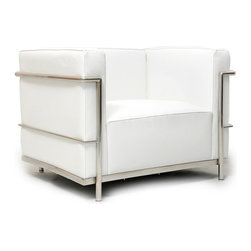 """Kardiel Le Corbusier Style LC3 Armchair, Pure White Genuine Leather - The Le Corbusier sofa set series was originally designed in 1928 for the Maison La Roche house in Paris. The design is the modernist response to the traditional club chair. The series comes in a smaller version referred to as the LC2 and a larger version known as the LC3 considered more appropriate for practical living purposes. Remarkably comfortable, Le Corbusier often referred to the pieces as """"cushion baskets"""". A striking feature of the LC3 is the externalized metal frame supporting the base, extending as the legs and running the entire length of the piece. Its not just the front of the LC3 that is attractive, the metal frame work means design detail from the sides and back allowing for easy placement even in the middle of a room. The Le Corbusier LC3 set is often used in a group of 2 chairs (1 seat version) and a single sofa or love (2 or 3 seat versions). Kardiel offers the highest quality Le Corbusier LC3 Grande' reproduction on the market. We specialize in this series and understand fully the intricacies of the original design. From the supple Genuine Aniline leather to the plump generously filled and wrapped cushions, our full list of features means you don't have to settle for an inferior reproduction. You also don't have to pay more. With Kardiel's signature reproduction, you can have your own version of the Le Corbusier LC3 Grande series. Compare this reproduction anywhere for its highest standard of exacting detail. The accuracy of this LC3 Grande reproduction is second to none."""