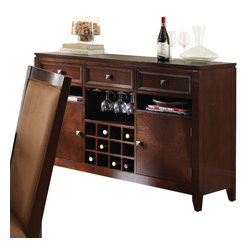 "Steve Silver Furniture - Steve Silver Cornell Server with Wine Storage in Rich Espresso - The Cornell Dining collection combines the rich warmth of a traditional dining set with striking details, making it a sure fit with a range of decor styles. The Cornell server has three spacious drawers for storing linens and tableware, two cabinets, wine and wine glass storage, and a 54"" x 18"" serving surface. An impressive complement to the Cornell dining table."