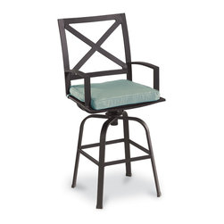 Thos. Baker - Terrace Outdoor Swivel Counter Stool - Masterfully crafted to combine beauty and function, our high-performance wrought aluminum  terrace collection is hand-welded, highly durable and virtually maintenance-free.  The dark chocolate powder-coat is an excellent choice for elegant outdoor lounging and dining sets.Plush Sunbrella cushion sets included where applicable. Choose quick ship in khaki with cocoa piping, stone green or choose from our made-to-order fabric options.