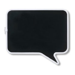 Umbra - Umbra Talk Magnetic Chalk Board - Express yourself and your to-do's with the whimsical Talk magnetic chalk board from Umbra. Shaped like a comic-strip talk bubble, the blackboard features white molded trim and a clip on the side for keeping track of the chalk (included).
