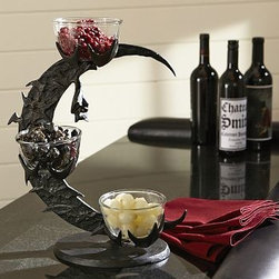 """Bat Branch Metal & Glass Condiment Set - Only slightly startling, our batty branch has three glass cups for self-serve treats. 13"""" long x 7.25"""" wide x 15.5"""" high Stand made of aluminum with a bronze finish. Molded glass bowls. Glass bowls are microwave- and dishwasher-safe. Set includes stand and three bowls. Catalog / Internet only."""
