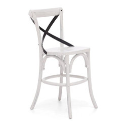 Zuo Modern - Zuo Modern Union Square Era Counter Chair X-21089 - Modeled after the most popular coffee chair in Europe, our versatile X-back counter chair comes in natural, antique black, and antique white. Frame is solid wood with antique metal accents.