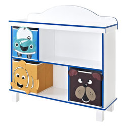 Altra Furniture - Benny Kids' 2-Shelf Bookcase With 3 Bins - Bear, Fish and Car bins included. 2 storage shelves. Blue colored trim. Open gallery top shelf. 37.4 in. L x 12.2 in. W x 35.43 in. H (34.76 lbs)You can have it all? a house that's fun and neat. This whimsical storage bookcase provides two open shelves and three bins featuring a bear, fish and car. Plus, it has an open gallery top with blue trim to show off favorite photos and prized possessions.