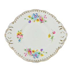 Lavish Shoestring - Consigned Cake Serving Plate w/ Floral Decoration by Salisbury China, English, 1 - This is a vintage one-of-a-kind item.