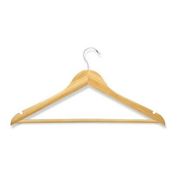 Honey Can Do - Bamboo Wood Suit Hanger - Pack of 4 - Streamlined shape. Keeps clothing looking freshly pressed. 360 degree swivel rod hook. Premium wood. Heavy-duty construction. 17.5 in. L x 0.45 in. W x 9.35 in. H (1 lbs.)Honey-Can-Do HNG-01530 4-Pack Bamboo Suit Hanger, Natural. Beautiful, wooden clothes hanger has a contoured design perfect for keeping shirts, dresses, and jackets wrinkle-free. Features a 360 degree swivel rod hook to hang items easily on any closet rod, towel bar, or standard size door. Non-slip pant bar holds fabrics perfectly in place. A gorgeous upgrade for any closet space.