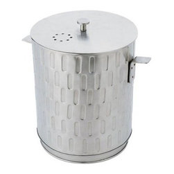 Achla Designs Kitchen Compost Pail - The Achla Designs Kitchen Compost Pail offers an ecological way to convert kitchen scraps into compost for the garden. Dump collected organic material from this pail into a composter to make fertilizer for plants and vegetables. Constructed of brushed stainless steel and includes a reusable plastic liner. Two replaceable carbon filters are included to eliminate odors.About ACHLA DesignsThis item is created by ACHLA Designs. ACHLA is a garden accessories company that emphasizes unique wood and hand-forged, wrought iron European furnishings for the home and garden. ACHLA Designs continues to add beautiful and unique items year after year, resulting in an unusually large product line. All ACHLA products are stocked in the company's warehouse for year-round, prompt shipping. ACHLA Designs takes great pride in offering exceptional products and customer service.