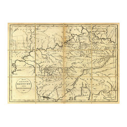 Folded Map: Kentucky - Framed - Framed in traditional dark wood molding and produced at a handsome, useful proportion of four feet wide, the Folded Map of Kentucky is taken from an original dated 1793. The worn creases in the map divide it into twelve sections, a decorative conceit designed to give it an authentic heirloom look, adding an appealing patina to the cartography artwork and to the home it adorns.