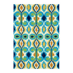 Loloi - Loloi Rugs Enzo Indoor/Outdoor Ivory-Blue Hand Hooked Rug - The hand-hooked Loloi Enzo rug energizes the modern interior with spirited fashion. Vibrantly colorful, the eclectic ikat design exudes global charisma for a dynamic expression. 100% polypropylene; Shades of green, blue, yellow gold, orange and ivory; Indoor/outdoor use; Rug pad recommended; Vacuum regularly and clean with neutral detergent, vinegar and water