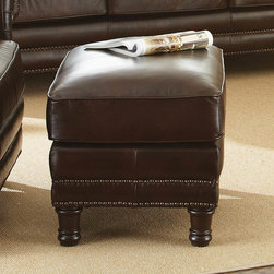 "Steve Silver - Chateau Ottoman - The Chateau Collection will add style and traditional sophistication to any home. The collection features a beautiful hand rubbed and finished semi- aniline leather that will provide years of beauty and comfort. The entire collection has hand sewn double stitched seams for added style and wear. It features a hand crafted frame for added style and grace. The back rail of the Chateau is fully padded and expertly tailored adding to the style and look of each piece. The legs of the Chateau are hand finished to a rich coffee brown which complements the overall look and style of the group. 100% top grain leather on all seating areas with leather splits on outside back and arms; Antique Chocolate Brown Leather w/ Antique Brass Nailheads; Seating features 2.0 High Density Foam with 8-way hand tied pocketed coils surrounded by a feather/fiber blend topper.; 100% Solid wood hand finished accent legs; Hardwood Frame. Dimensions: 20.5""L x 27.5""W x 18.5""H"