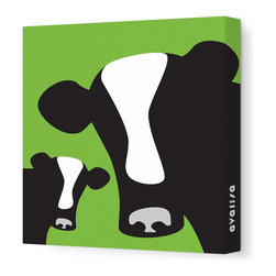 """Avalisa - Animal - Cows Stretched Wall Art, 12"""" x 12"""", Green - Moo-ve over, plain and boring walls. These glamour girls are ready to milkshake their stuff and bring all the bulls to the yard. Cows come in classic black and creamy white with your choice of background colors. Remember: You herd it here first."""