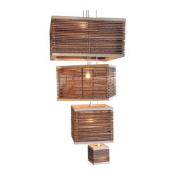 """Shiner - Shiner Spaced Cardboard Square 15"""" X 11.75"""" - Modern, eco-friendly furnishings made in Atlanta, Georgia. Our goal is to transform tons of landfill-destined materials into killer designs. By building pieces out of disposable elements, we refine the future by upcycling the past. Everything from the steel, hardwoods, and cardboard to our lexan and linen is diverted from the incinerator. We strive to make every piece knock-down for ease of shipping with less environmental impact. The Corrogated Hanging Light Round 15"""" is made of Plywood and Corrugated cardboard and measures 15"""" in diameter by 11.75"""" tall."""