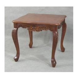 International Caravan - Square End Table w Serpentine Edges, Carved S - In Stain finish. Made of hand carved hardwood. 22 in. L x 22 in. D x 20 in. H