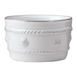 Berry and Thread Ramekin - Whitewash - Whether you use it to bake desserts, to offer condiments, or to serve side dishes, this ceramic Ramekin with its sculpted-look side details has a chic, nostalgic look in the kitchen and on the table. Slightly larger than is traditional for this essential dinnerware accessory, the hefty cylindrical dish from the Berry and Thread stoneware collection is glazed in a gentle, pristine Whitewash.
