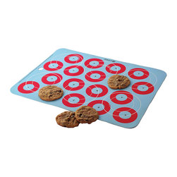 Baker's 13 - Light Blue Cookies Ultimate Baking Mat - This charming, reusable mat makes cookies, rolls and fish sticks roll right off without sticking. Boasting a bold design and crafted from durable silicone, it features useful targets to evenly space out food and fits most standard size baking sheets.   15'' W x 11'' H Silicone BPA-free Dishwasher-safe Oven-safe up to 400°F Imported