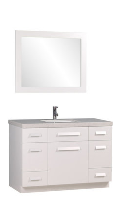"""Design Element - Design Element Moscony 48"""" Modern Single Sink Vanity Set, White, 48 X 22 X 34 - The Moscony 48"""" Single Sink Vanity is constructed with solid wood and provides a contemporary design perfect for any bathroom remodel. The ample storage in this free-standing vanity set includes four fully functional drawers placed at each corner of the cabinet, two single door cabinets across the center as well as one larger single door cabinet each accented with brushed nickel hardware. This cabinet is available in both espresso and in white and comes complete with a white quartz counter top and a large framed mirror."""