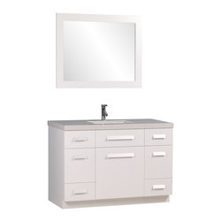 "Design Element - Design Element Moscony 48"" Modern Single Sink Vanity Set, White, 48 X 22 X 34 - The Moscony 48"" Single Sink Vanity is constructed with solid wood and provides a contemporary design perfect for any bathroom remodel. The ample storage in this free-standing vanity set includes four fully functional drawers placed at each corner of the cabinet, two single door cabinets across the center as well as one larger single door cabinet each accented with brushed nickel hardware. This cabinet is available in both espresso and in white and comes complete with a white quartz counter top and a large framed mirror."