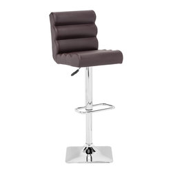 ZUO MODERN - Nitro Barstool Espresso - With its padded rolls and adjustable height, the Nitro barstool looks funky as it is functional. It has a chrome base with a footrest and leatherette wrapped seat.
