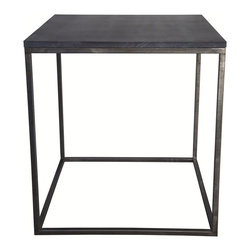 Noir - Noir - Landon Side Table w/ Stone - Simple metal cube side table with stone top