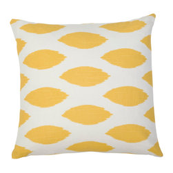 5 Surry Lane - Yellow Ikat Dot Geometric Pillow - This must-have pillow will add a cozy blend of warmth and style to your decor. We love the bright bold yet versatile pattern. Arrange a few together to create the most sought after seating in the house.  Same fabric front and back.  Down feather insert included.  Hidden zipper closure.  Made in the USA.