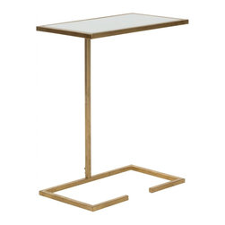Safavieh - Neil Accent Table - �Fashion fades, but style is eternal,� said Yves Saint Laurent. And the Neil Accent Table is the heir to this astute sentiment. Crafted with gold-leafed iron and white glass tabletop, its chic, geometric form is perfect for modern or traditional interiors. Place it next to a sofa, chair or even bedside for a place to rest a cup of tea or morning paper.