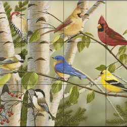 The Tile Mural Store (USA) - Tile Mural - Summer Friends - Wv - Kitchen Backsplash Ideas - This beautiful artwork by William Vanderdasson has been digitally reproduced for tiles and depicts a colorful collection of birds.  Images of backyard birds on tiles are great to use as a part of your kitchen backsplash tile project or your tub and shower surround bathroom tile project. Pictures of cardinals on tile, blue jays on tiles and robbins on tiles make a great kitchen backsplash idea. Bring the outdoors in with a birds of the backyard tile mural. You can use a tile mural with birds in the bathroom too for your shower tile project. Consider a tile mural colorful birds for any room in your home where you want to add interest to a plain tile wall area.