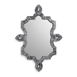 Kathy Kuo Home - Bethany Hollywood Regency Grey Smoke Bone Inlay Wall Mirror - The luxury of hand applied smoky grey bone inlay is given a hint of modern baroque styling to gorgeous effect in the lines and materials of the Bethany mirror.  Perfect for a Hollywood Regency space, this mirror will add light and serious style points to any wall.