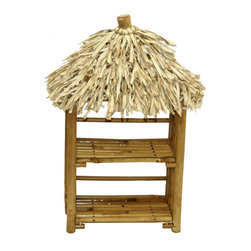 Bamboo54 - Folding Bamboo Cd Rack With Thatch - Add an Asian inspired-design touch to your dcor with this Folding Bamboo Cd Rack With Thatch. This delightful CD rack that looks like a miniature island style huts is great for beach parties or luaus too. It features a two tier bamboo rack pair in natural finish, folding shelves and thatch  in. roofs, providing plenty of space for showing off your favorite discs. Stack and display your CD's in this accent piece. It is sure to create a casual environment and reflects your progressive taste.