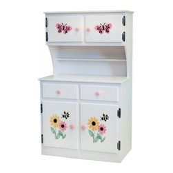 Amish Handcrafted - White Toy Kitchen Hutch Cabinet With Bumble Bee Flower Stencil - Handmade Wooden