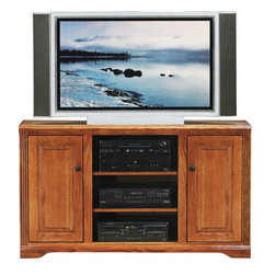 Eagle Furniture Manufacturers - Oak Ridge 55 in. Flat Screen TV Console (Medium Oak) - Finish: Medium Oak. Two adjustable wood shelves, two raised panel doors, two fixed wood shelves. Designed with decorative molding and fluted detailing. Warranty: Eagle's products are guaranteed against material defects for one year from date of delivery to the dealer. Made in USA. No assembly required. 55 in. W x 17 in. D x 32 in. H (91.3 lbs.)The Oak Ridge collection combines American oak hardwood with updated contemporary styling. Heavy crown molding, sleek lines, fluted side molding, black brushed metal hardware, solid oak frames and solid oak recessed doors give this transitional collection a style all its own