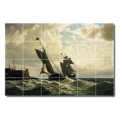 Picture-Tiles, LLC - Making Harbor Tile Mural By William Bradford - * MURAL SIZE: 32x48 inch tile mural using (24) 8x8 ceramic tiles-satin finish.