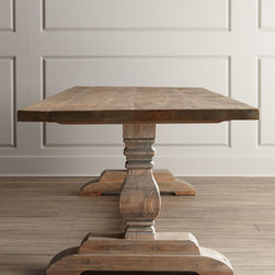 Natural Dining Table - Handcrafted of reclaimed pine, this classic trestle dining table has a rustic bleached finish that partners beautifully with formal or casual chairs.
