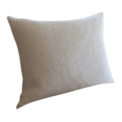 Taylor Linens - Grace Egg-Shell White Euro Sham - Sweet dreams are made of this. With its delicate hand-stitched texture on 100 percent white cotton, this pillow sham will slip easily into your bedroom and couple with your florals, solids or stripes for endless possibilities. Hold your head up — in style.