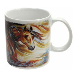 "WL - 4"" White Ceramic 14 oz Coffee Mug with Wind Blows Flowing Horse Mane - This gorgeous 4"" White Ceramic 14 oz Coffee Mug with Wind Blows Flowing Horse Mane has the finest details and highest quality you will find anywhere! 4"" White Ceramic 14 oz Coffee Mug with Wind Blows Flowing Horse Mane is truly remarkable."