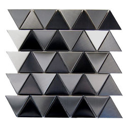 """Jagged Symmetry - Tiles Size Shown: 12in x 12in x 8mm; Material: Metal; Chip Sized: 2.75"""" Triangle; Chemical, Fading, and Discoloration Resistant"""