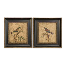 Uttermost - Colorful Birds On Branch I, II -Set Of 2 - This hand painted artwork is accented by frames with distressed black inner panels with a gray wash. Inner and outer edges have golden bronze undertones with black distressing and a heavy gray glaze. Artwork is on canvas that is mounted on hardboard. Due