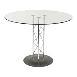 Eurostyle - Eurostyle Trave 36 Inch Round Glass Dining Table w/ Textured Black Base - 36 Inch Round Glass Dining Table w/ Textured Black Base belongs to Trave Collection by Eurostyle Clear glass top and industrial strength base make Trave the first name in lasting style. The statement is crisp lines and clear strength. Sitting or standing room only! Table Base (1), Table Column (1), Table Top (1)